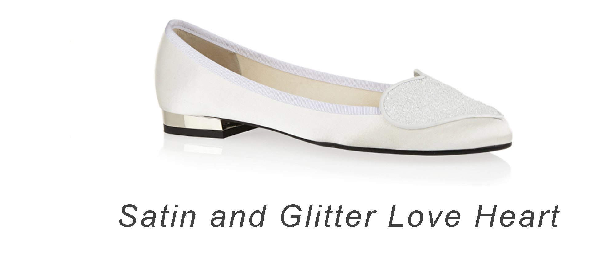Satin and Glitter Love Heart flats.