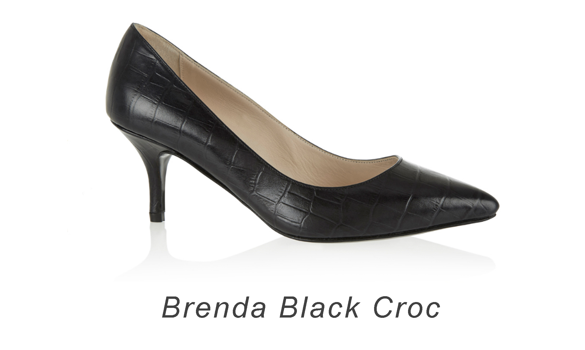 French Sole Brenda Black Crocodile Heel.