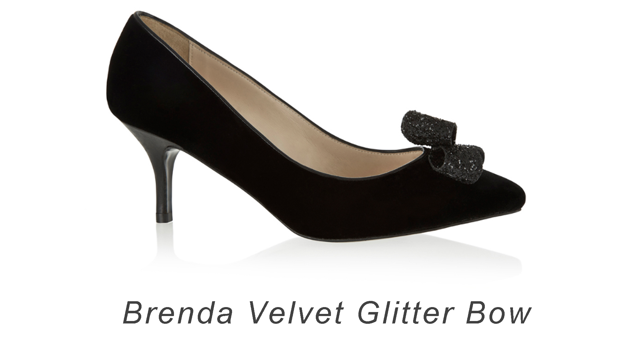 French Sole Brenda Velvet Glitter Bow