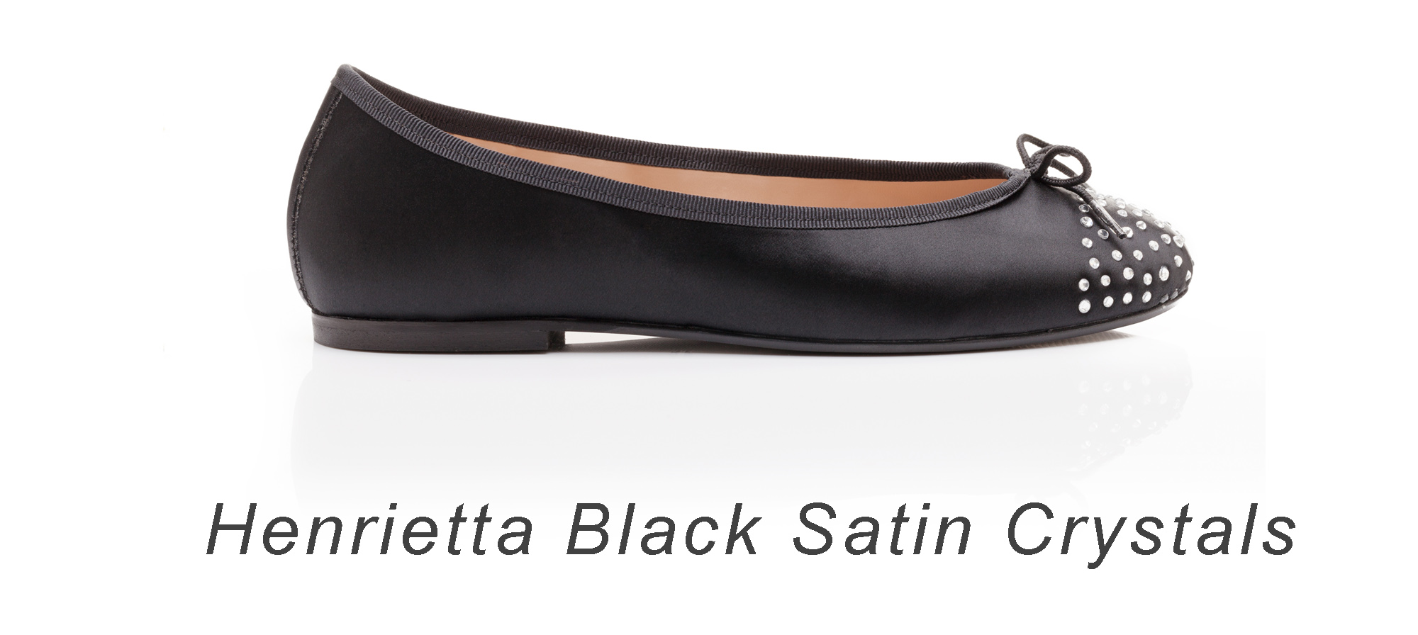 French Sole black satin flats